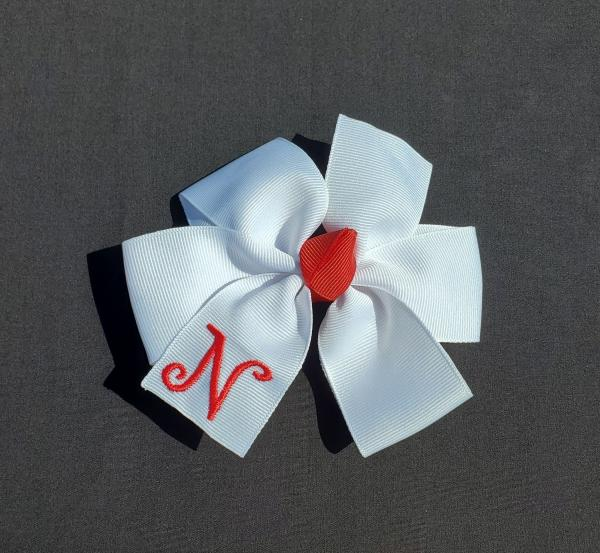 White/Red Monogrammed Hair Bow