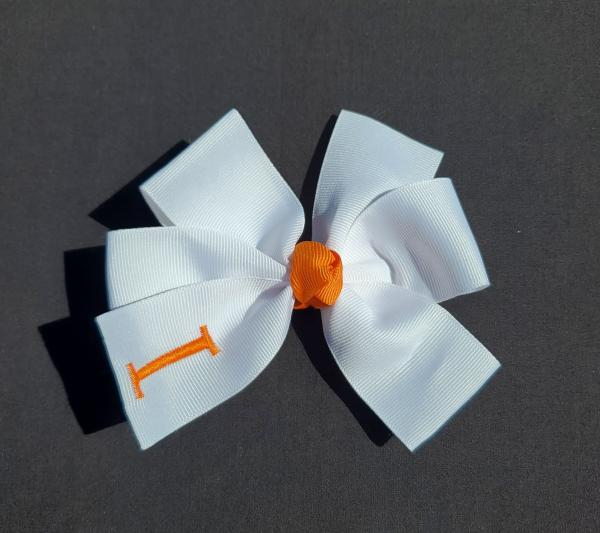 White/Orange Monogrammed Hair Bow picture