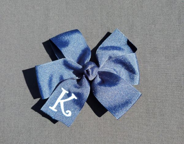Navy Monogrammed Hair Bow picture