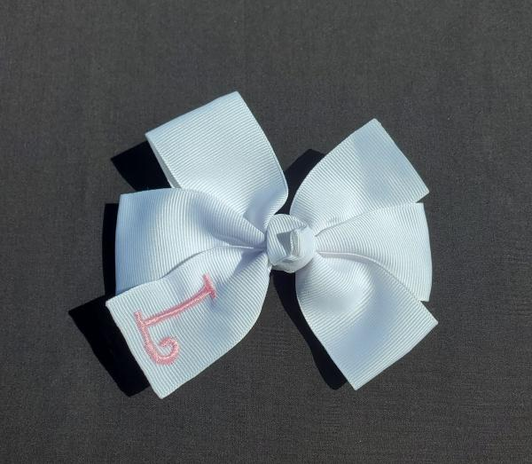 White/Pink Monogrammed Hair Bow