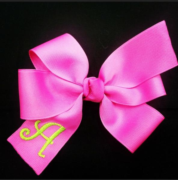 Raspberry Monogrammed Hair Bow