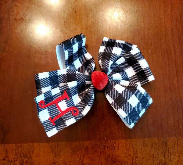 Black and White Buffalo Plaid Momogrammed Hair Bow