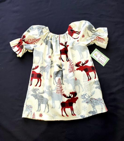 Flannel Moose Peasant Dress
