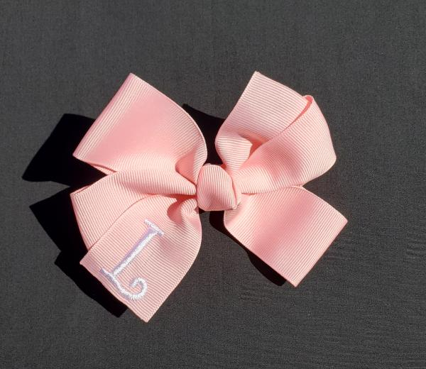 Pink Monogrammed Hair Bow picture