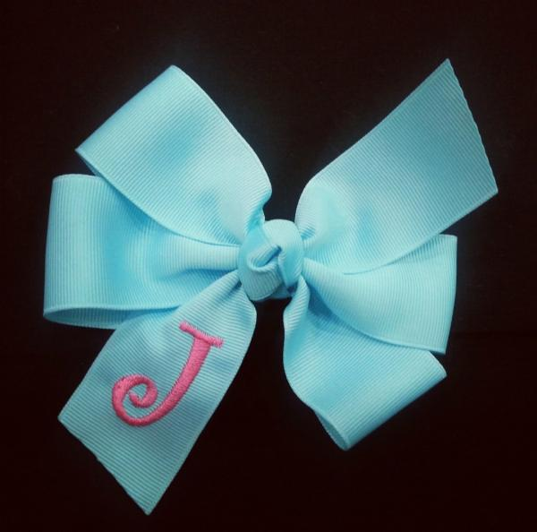Robbins Egg Monogrammed Hair Bow