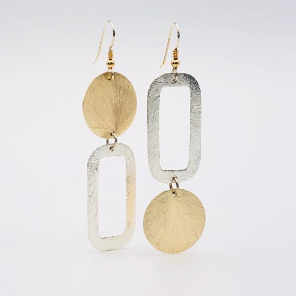 Modern asymmetrical geometric gold/silver earrings, sterling silver ear wires.  Fun, bold, lightweight and sexy dangles!  By DianaHDesigns