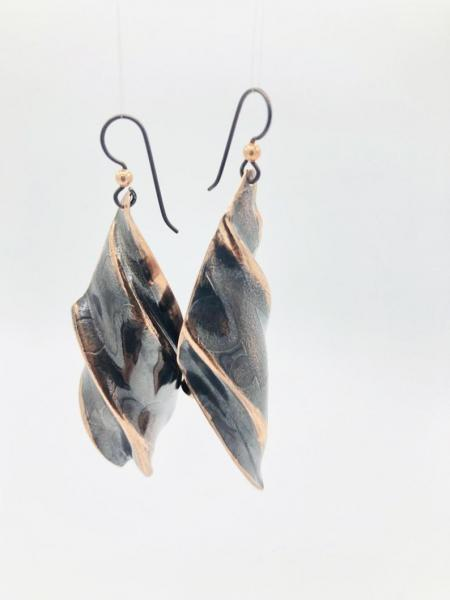 Leaf shaped fold-formed copper earrings in a deep chocolate brown are Handmade by DianaHDesigns. One-of-a-kind, organic, edgy, modern, boho!