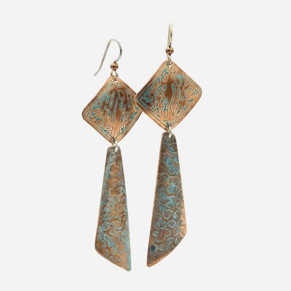 Long modern geometric copper pierced dangle earrings w/ boho flair! Handmade by DianaHDesigns! Etched, textured design, aged green patina.