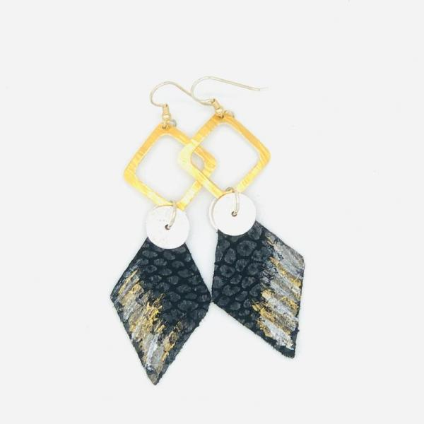 Leather handmade, hand painted modern earrings black/gold/silver. Geometric, bold, lightweight and one-of-a-kind Jewelry by DianaHDesigns!
