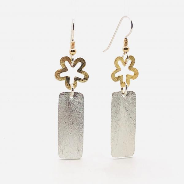 Geometric flower statement earrings. Bold, elegant in gold/silver tones. Lightweight, sexy dangles, sterling ear wires. By DianaHDesigns!