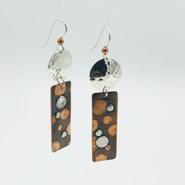 Geometric rectangular polka dot statement earrings copper/silver. Handmade, one-of-a-kind by DianaHDesigns! Pierced, sterling ear wires.