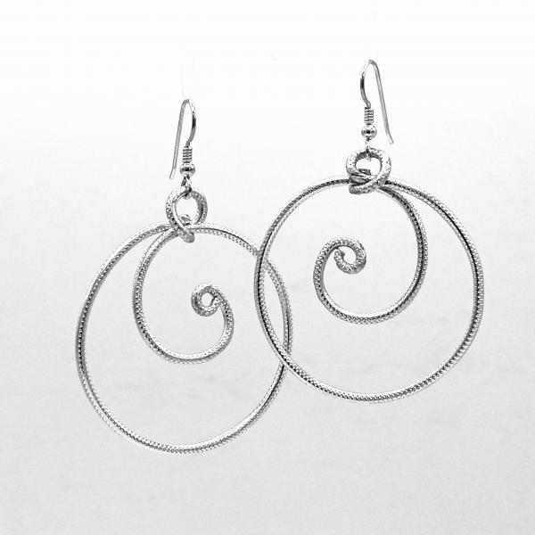 Cosmic Swirly Fun! Handmade statement silver aluminum hoop earrings lightweight textured. Pure Zen! Artful Modern Jewelry by DianaHDesigns