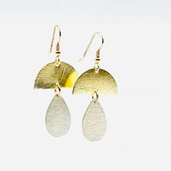 DianaHDesigns Contemporary Geometric Statement Earrings Half Moon/Tear Drop Lightweight Dangles Gold/Silver Tones, Sterling Silver Ear Wires