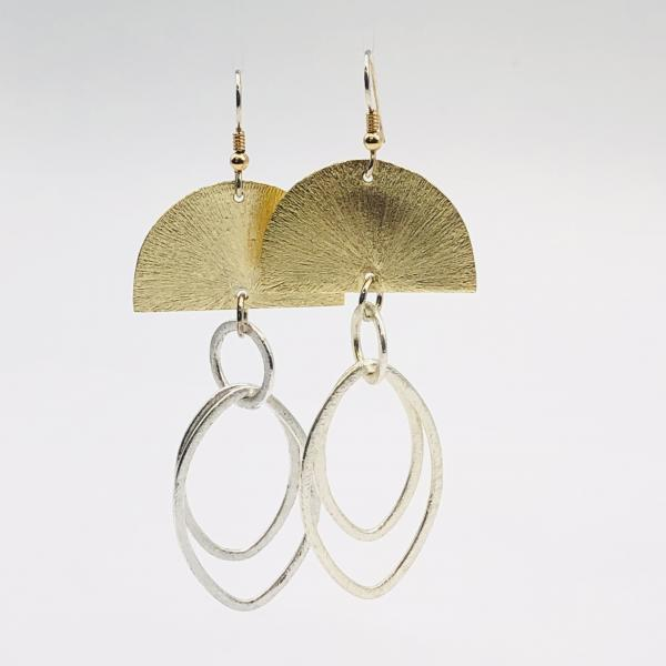 Bold geometric half moon dangle earrings two-tone gold/silver. Lightweight, sterling silver ear wires DianaHDesigns/Artful Handmade Jewelry