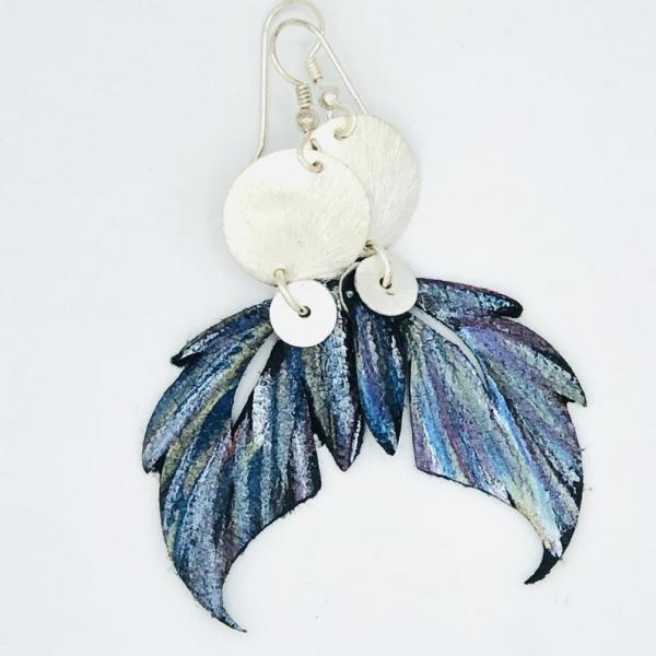 Leather feather earrings geometric, modern design. Hand painted recycled leather, one-of-a-kind. Artful Handmade Jewelry by DianaHDesigns!