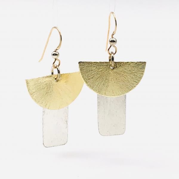 Contemporary geometric dangle earrings half moon/rectangle shapes, gold/silver tones. Lightweight w/ gold-filled ear wires. DianaHDesigns