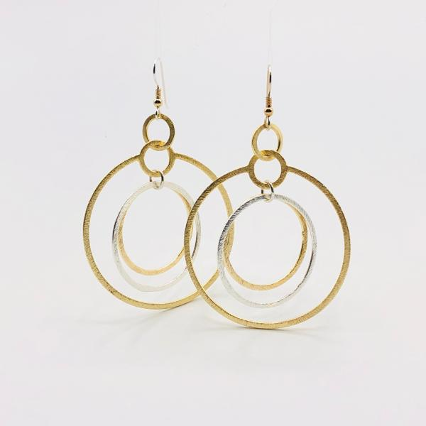 Modern gold/silver infinity circle hoop earrings, sterling silver ear wires. Gorgeous textures, bold, sexy & lightweight. By DianaHDesigns