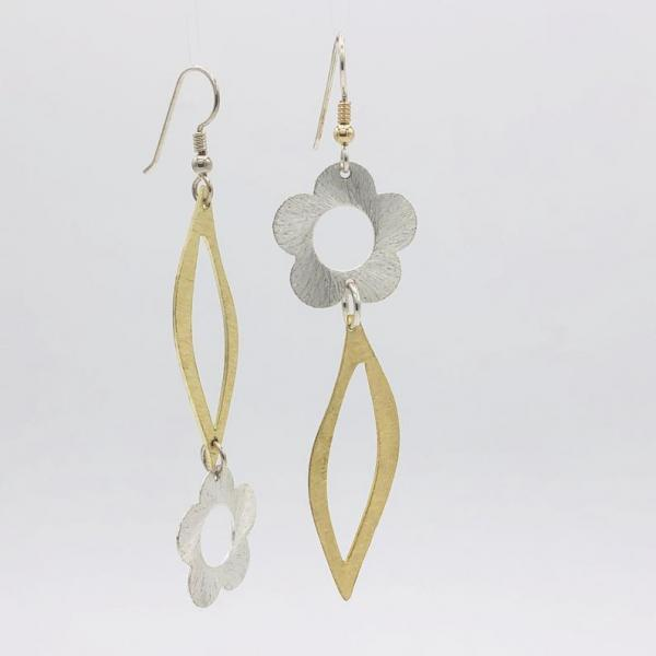 Asymmetrical flower and leaf design earrings in gold/silver tones. Fun, bold, elegant, lightweight & sexy statement dangles by DianaHDesigns