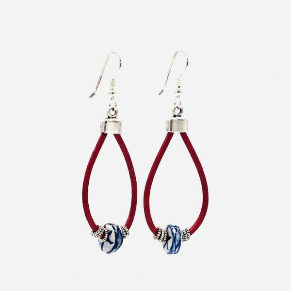 Handmade leather dangle earrings in red, blue, white with silver accents. Lightweight, one-of-a-kind. Sterling ear wires! DianaHDesigns
