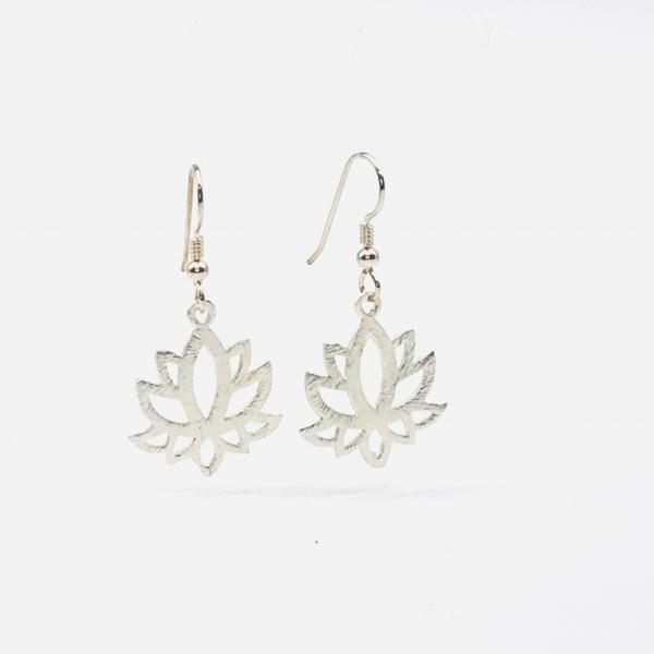 Lotus yoga earrings gold or silver tone minimalist flower design lightweight pierced dangles. Fun, Artful Handmade Jewelry by DianaHDesigns