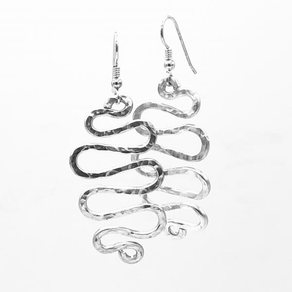 Silver aluminum statement earrings. Modern, graceful, curvy, sexy and so lightweight! Artful Jewelry by DianaHDesigns. One-of-a-kind pair