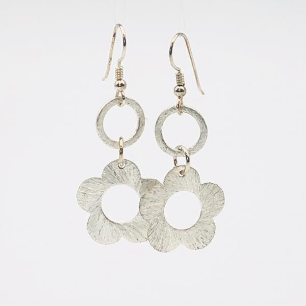 Graceful silver flower earrings. DianaHDesigns fun contemporary dangles. Lightweight, beautiful brushed plated finish, sterling ear wires!