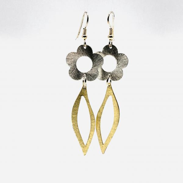 Flower Power! Fun but Sophisticated Lightweight Statement Dangle Earrings by DianaHDesigns. Contemporary two-tone with sterling ear wires.
