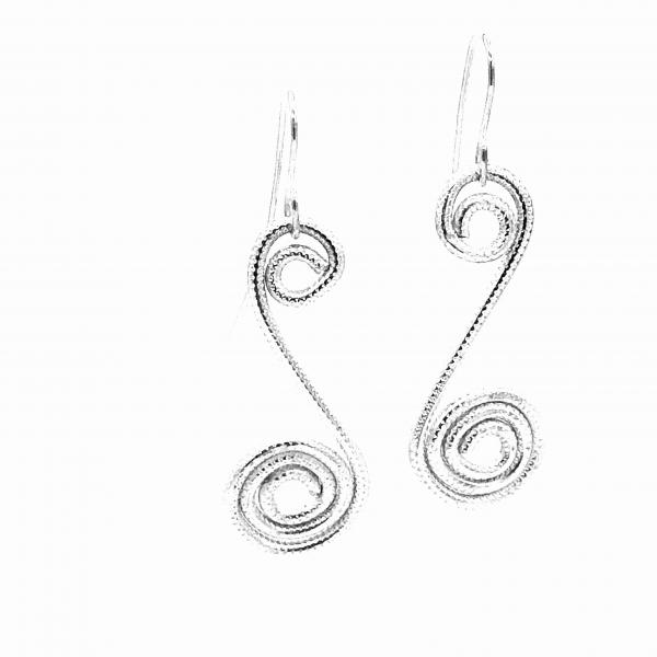 Swirled spiral contemporary silver earrings lightweight aluminum, sterling ear wires. One-of-a-kind pair, great texture! DianaHDesigns.
