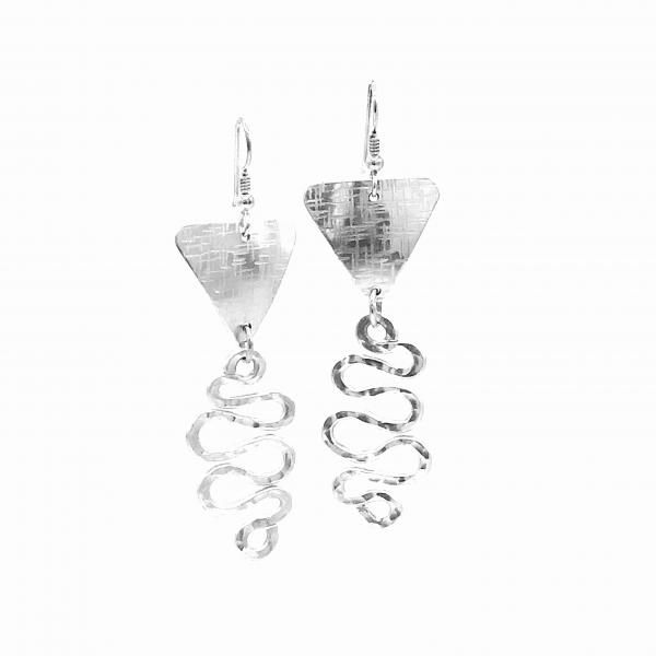 Handmade modern silver dangle earrings. Look like sterling but don't tarnish. Lightweight aluminum cut, hammered and forged. DianaHDesigns