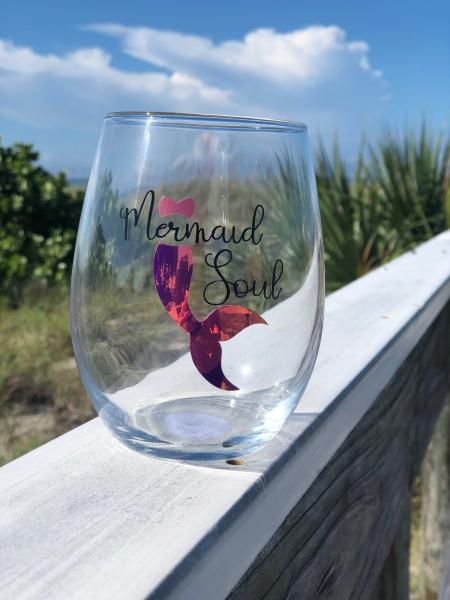 """Mermaid Soul"" PINK 20oz Stemless Glass"