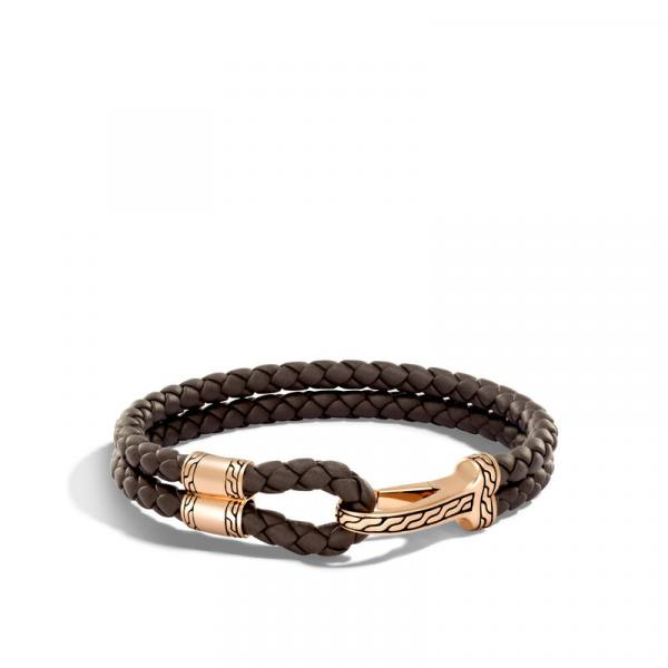 JOHN HARDY MEN'S CLASSIC CHAIN BRONZE HOOK STATION BRACELET ON 5MM BROWN LEATHER CORD