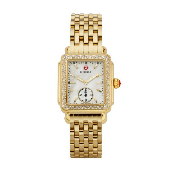 Michele Deco Mid Diamond Gold Complete Watch