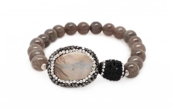 DANI DESIGNS STRETCH, GREY & CRYSTALLIZED AGATE & CAPPED BEADS BRACELET