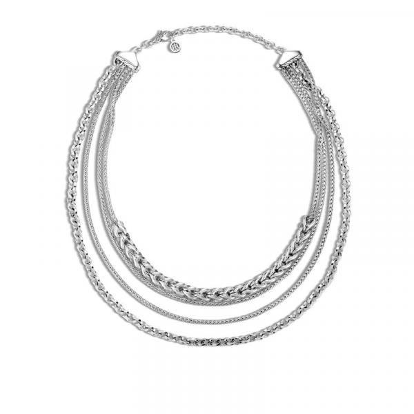 JOHN HARDY ASLI CLASSIC CHAIN LINK SILVER MULTI ROW NECKLACE