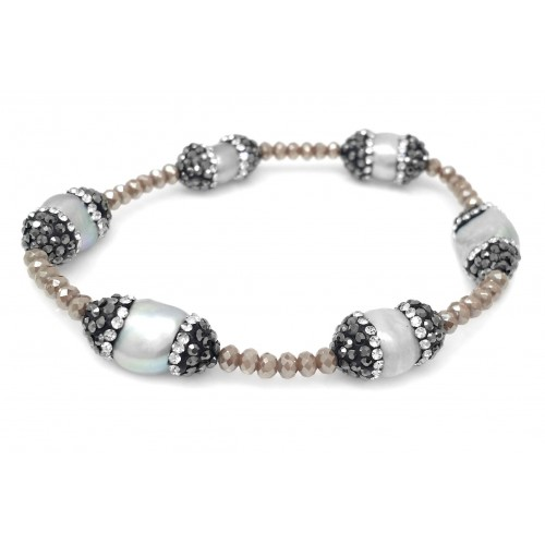 DANI DESIGNS TAN BEADS W/CRYSTALLIZED 6 CAPPED FRESHWATER PEARL BRACELET