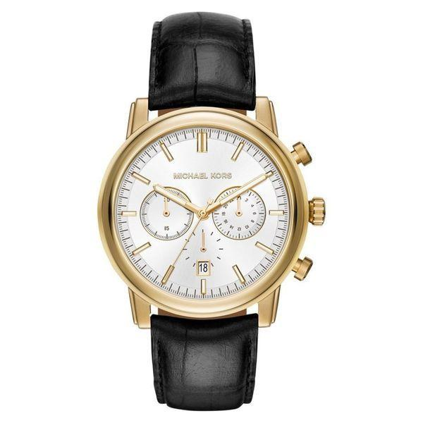Michael Kors Men's 'Pennant' Chronograph Black Leather Watch picture