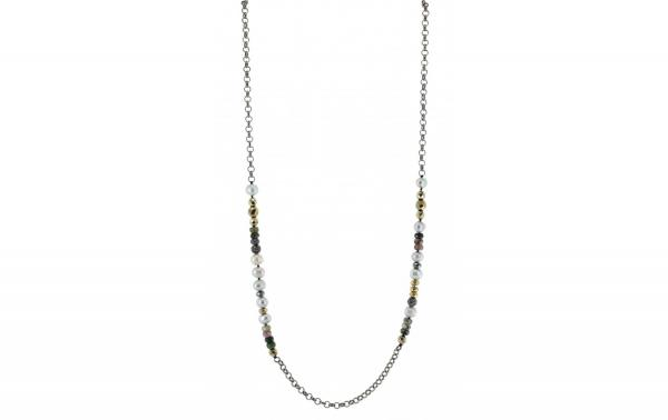 DANI DESIGNS 36'' HEMATITE COLORED CHAIN W/FRESHWATER PEARLS, MULTI STONE BEAD NECKLACE