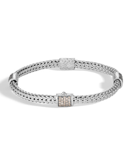 JOHN HARDY CLASSIC CHAIN SILVER 0.73CT DIAMOND PAVE FOUR STATION BRACELET