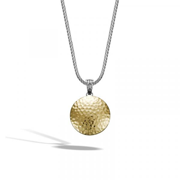 JOHN HARDY DOT HAMMERED GOLD & SILVER ROUND PENDANT