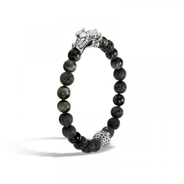 JOHN HARDY NAGA SILVER BRACELET, 8MM BLACK VOLCANIC BEADS W/8MM EAGLE EYE