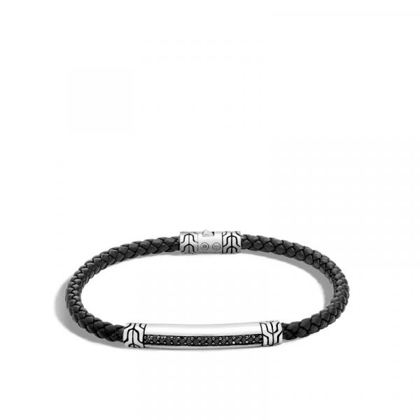 JOHN HARDY SILVER BRACELET ON 4MM BLACK LEATHER CORD WITH BLACK SAPPHIRE