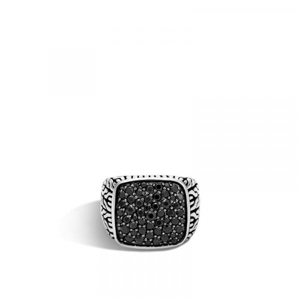 JOHN HARDY MEN'S CLASSIC CHAIN SILVER SIGNET RING WITH BLACK SAPPHIRES picture