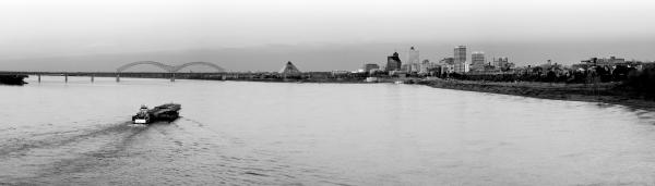 Panorama of Memphis Skyline with Barge