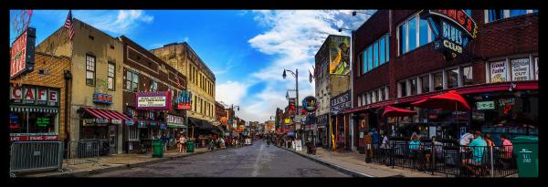 Panorama of Beale Street at Dusk