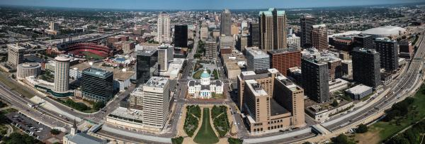 Panorama of Downtown St Louis from the Gateway Arch 8x24