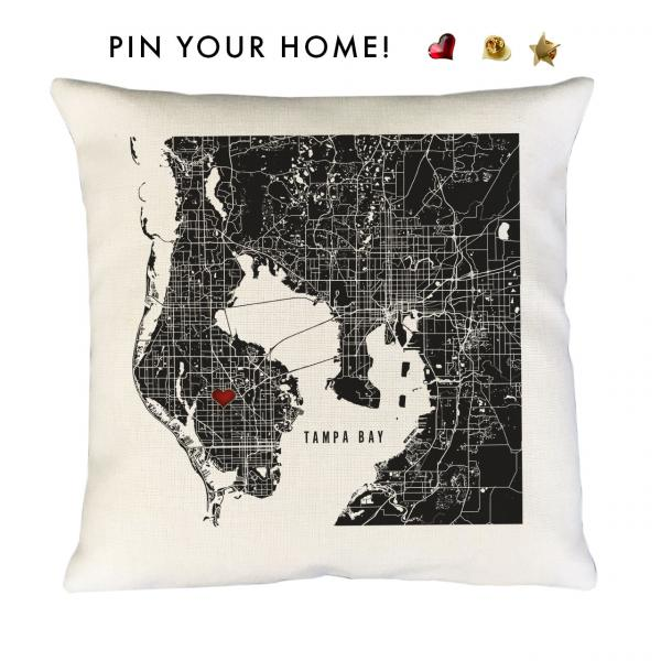 Black Tampa Map Accent Pillow Cover | Pin-Your-Home
