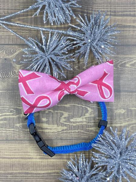 Breast Cancer Ribbon Dog Bowtie