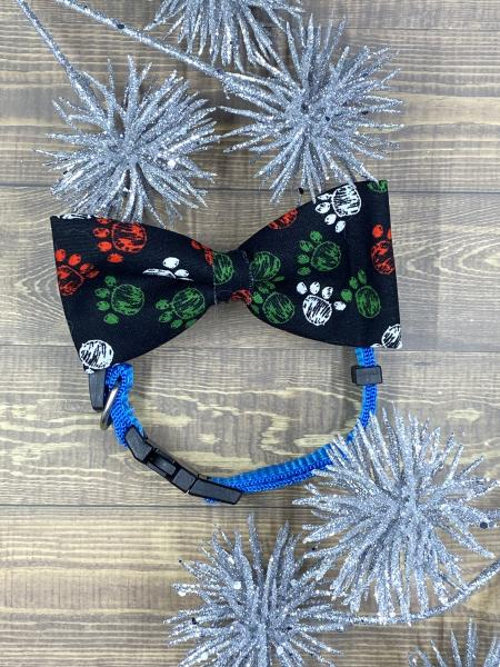 Christmas Pawprints Dog Bowties