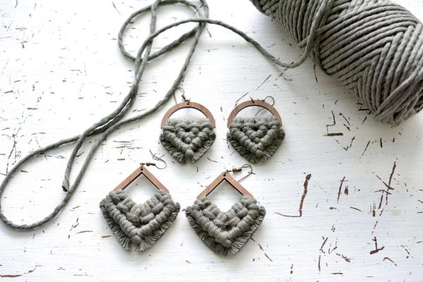 Army Green Macrame Earrings