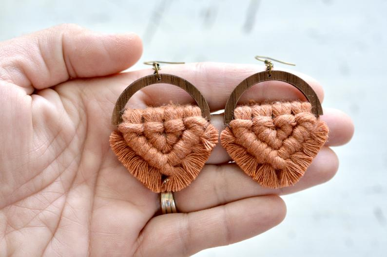 Terracotta Macrame Earrings picture